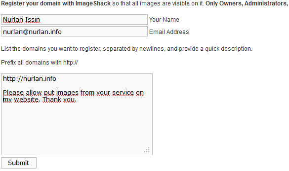 ImageShack Register Domain